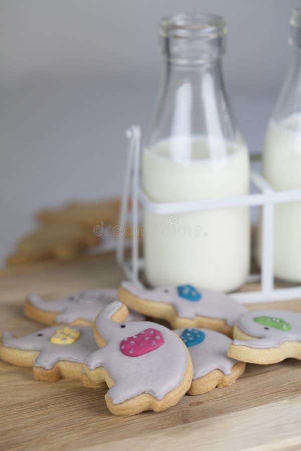 大象党饼干或曲奇饼与两个小的水罐牛奶 免版税库存图片