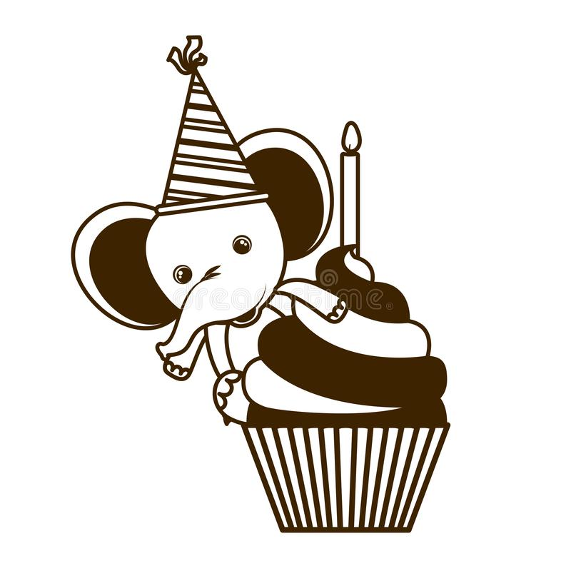 大象剪影与生日快乐蛋糕的  库存例证