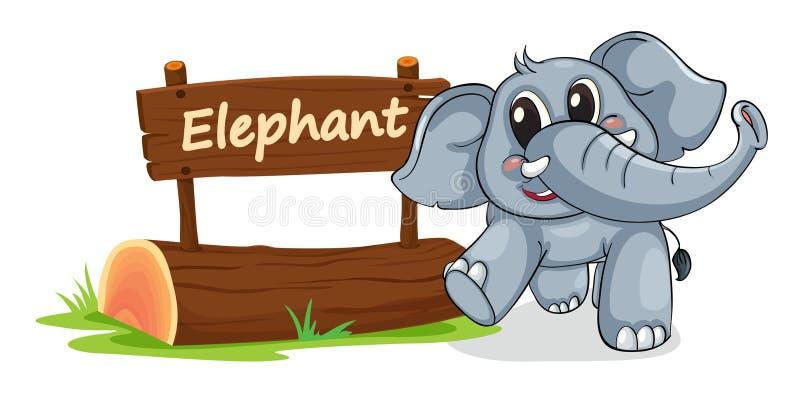 大象和名字板极 库存例证