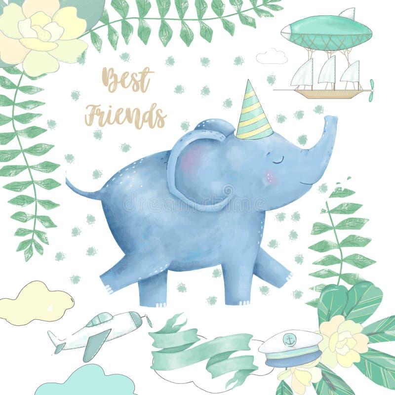 大象和花设计的准备非洲逗人喜爱的图画字符滑稽的孩子样式卡片剪贴美术数字式动物在白色backg 皇族释放例证