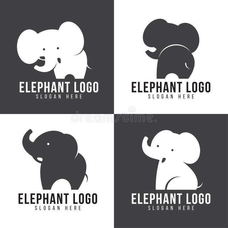 大象商标-逗人喜爱的大象4样式和灰色和白色口气 皇族释放例证