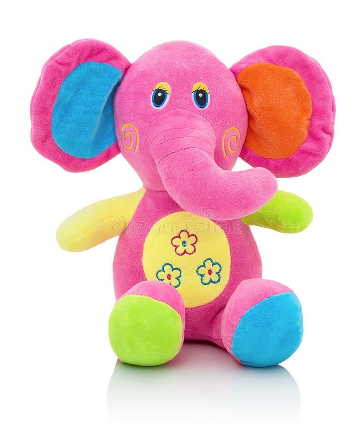 大象在与阴影反射的白色背景隔绝的plushie玩偶 在白色背景的大象长毛绒被充塞的木偶 库存图片