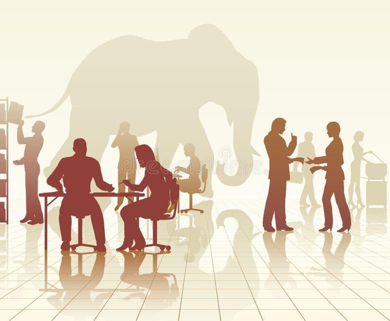 大象在办公室 库存例证