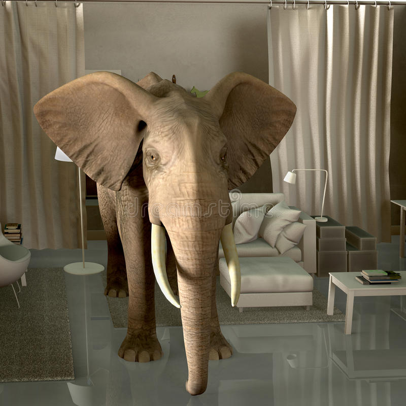 大象在屋子里 皇族释放例证