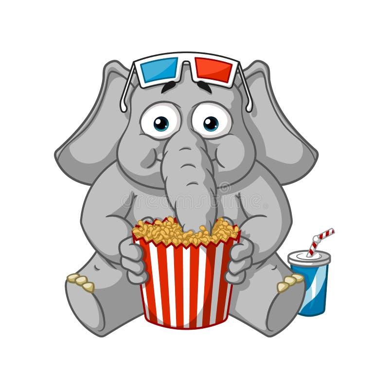 大象大汇集传染媒介漫画人物在被隔绝的背景的 在3D吃玉米花的玻璃的观看的电影 库存例证