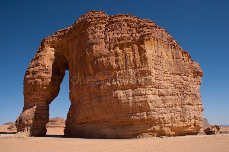 大象岩石在沙特阿拉伯 免版税库存图片