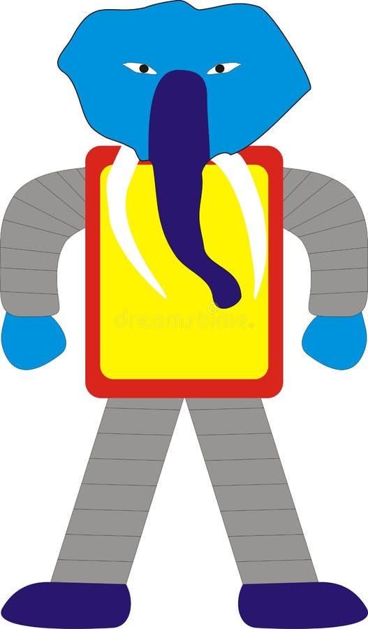 大象机器人常设模型A1蓝色红色灰色黄色 免版税库存图片