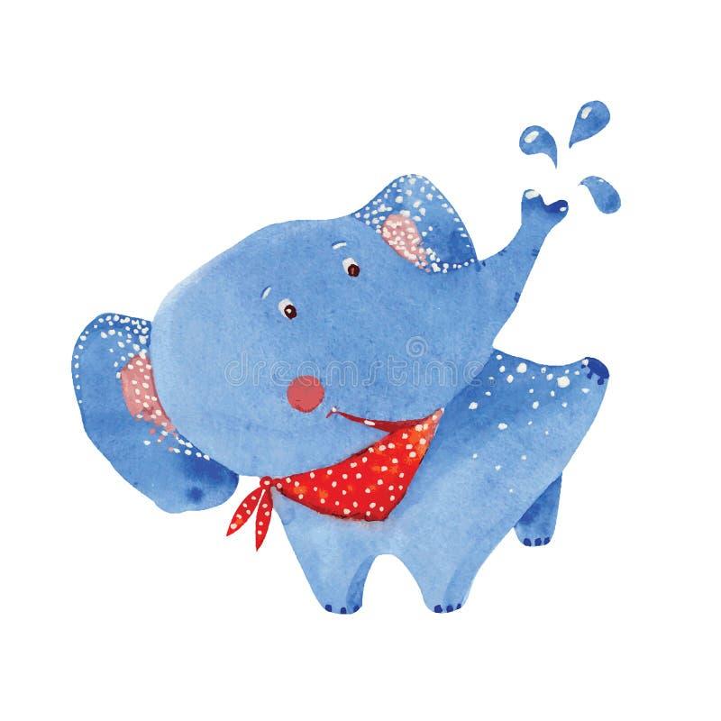 大象沐浴 向量例证