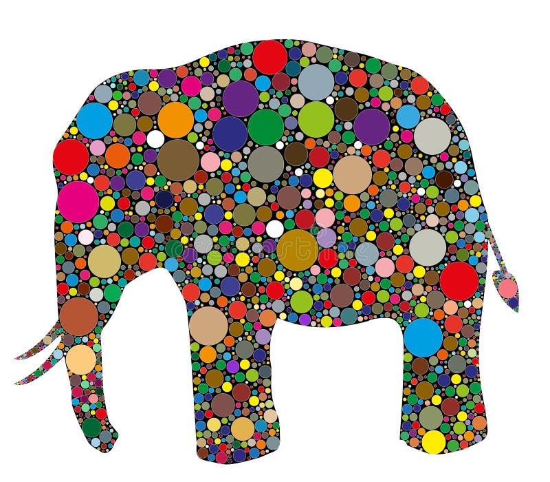 大象由颜色做成 皇族释放例证