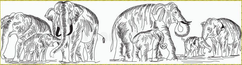 大象线艺术thunpath raana 向量例证
