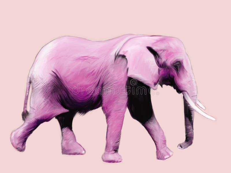 大象绘画粉红色