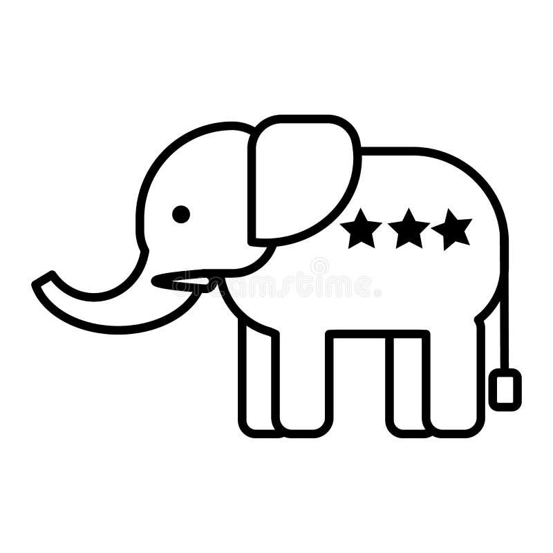 大象顶头传染媒介线象,标志,在背景,编辑可能的冲程的例证 库存例证