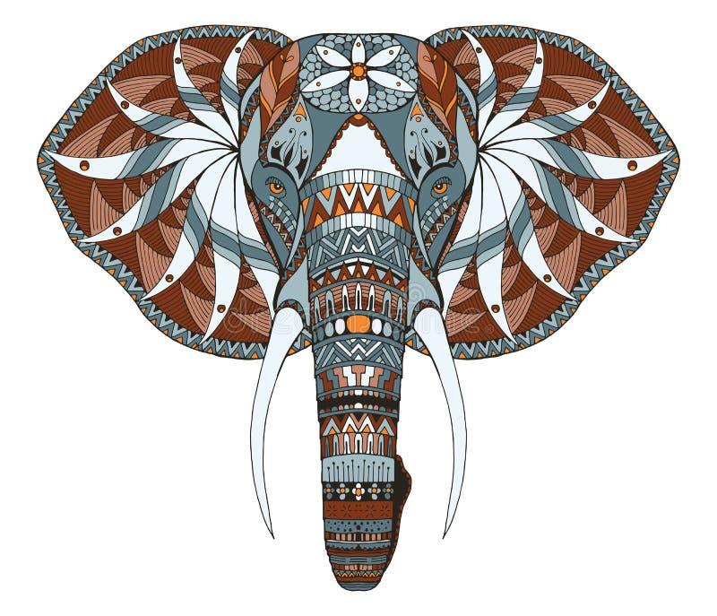 大象顶头zentangle传统化了,导航,例证,徒手画 向量例证