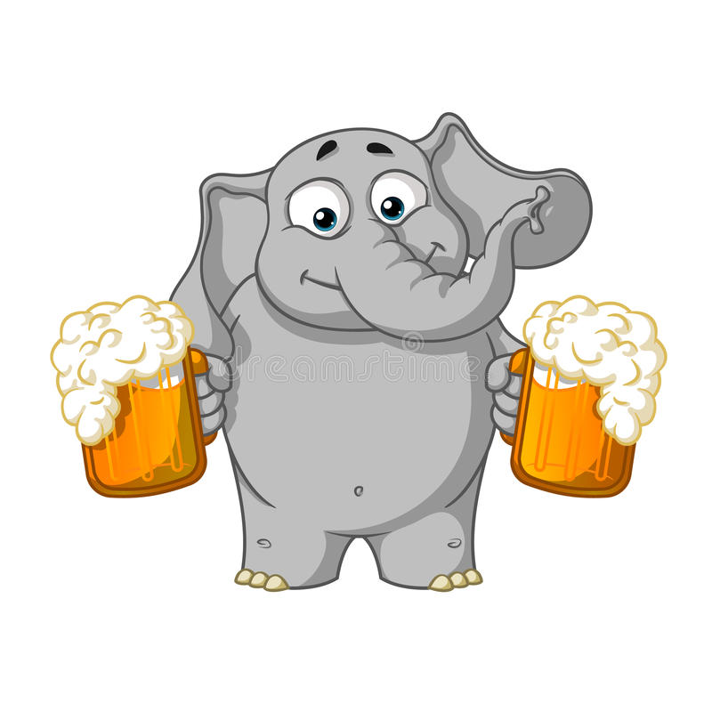 大象 字符 他拿着一个杯子啤酒并且提供饮料 被隔绝的大象的大收藏 传染媒介,动画片 免版税库存照片