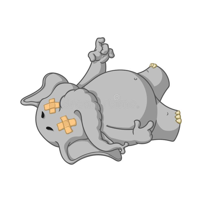 大象 字符 Fell疲倦了 滴下死 被隔绝的大象的大收藏 传染媒介,动画片 库存例证