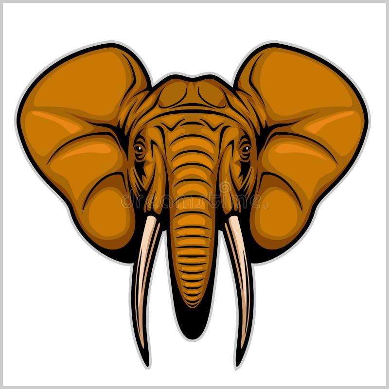 大象头 查出在白色 皇族释放例证