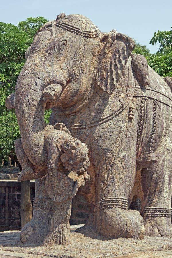 大象konark雕象寺庙 免版税库存照片