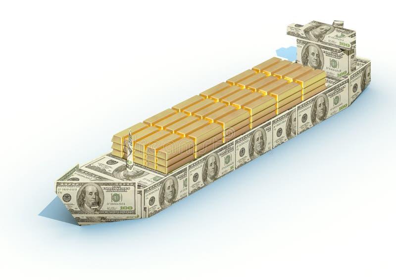 大货物金锭货币船 库存例证