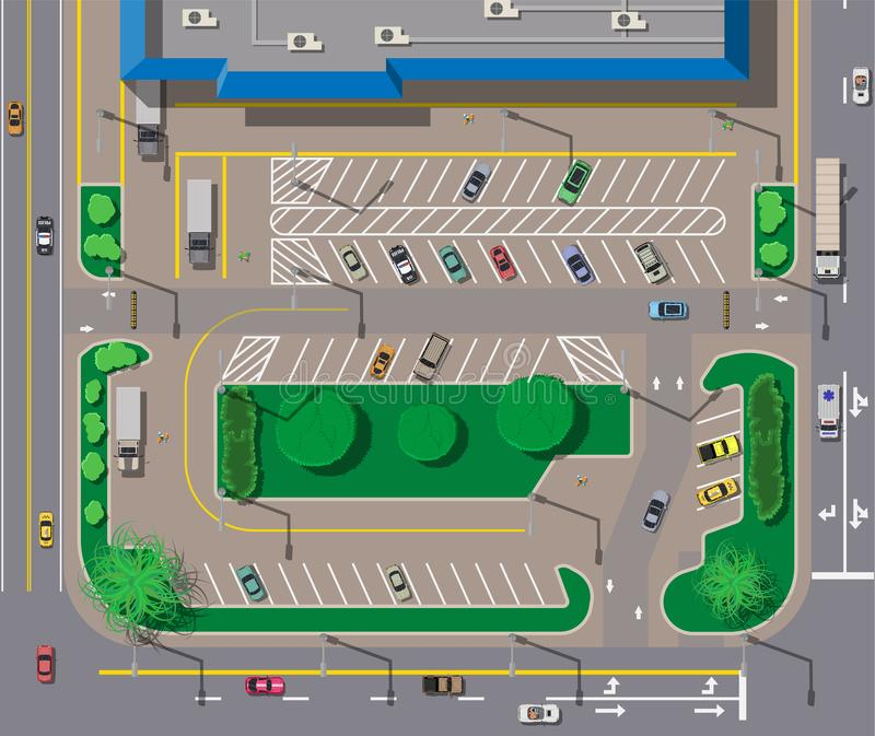 大购物中心或购物中心和停车处汽车的 皇族释放例证