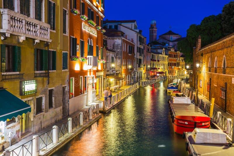 大运河在威尼斯在晚上 免版税库存图片
