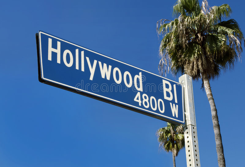 大道好莱坞符号街道 库存图片