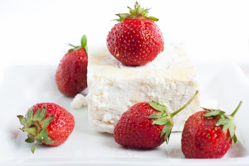 大部分酸奶干酪草莓 库存照片