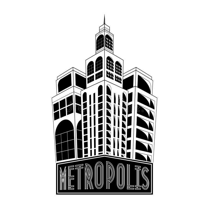 大都会商标,城市大厦网象,标签,都市风景,城市剪影,都市风景,镇地平线,摩天大楼 等高h 库存例证
