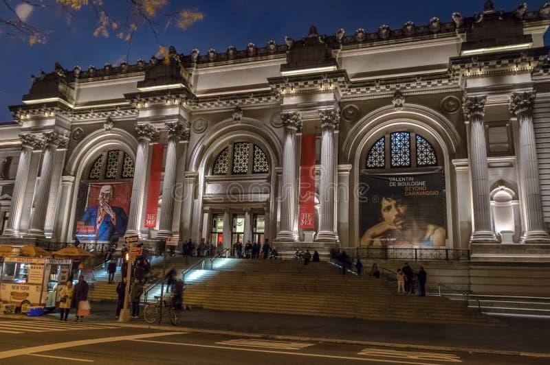 大都会艺术博物馆在晚上-纽约,美国 库存照片