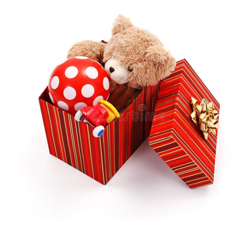 大配件箱充分的礼品玩具 库存照片