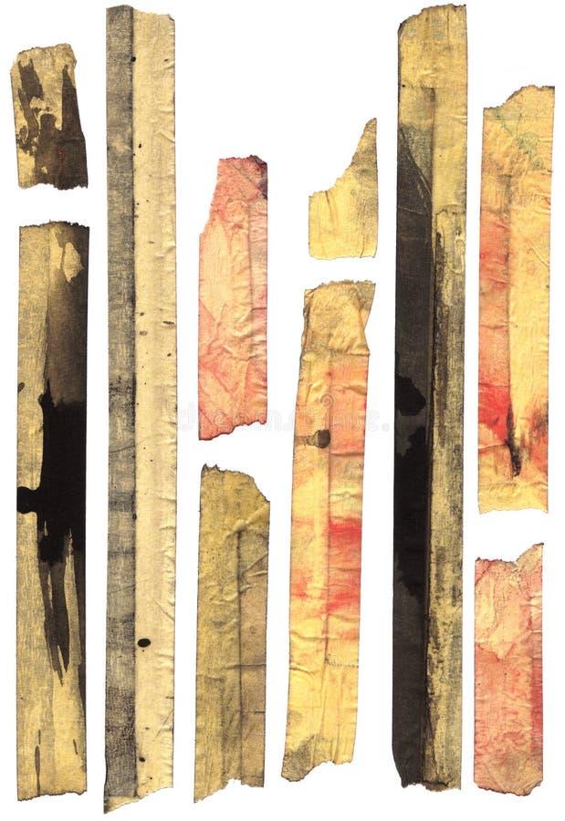 大量地屏蔽的老被弄脏的磁带 皇族释放例证