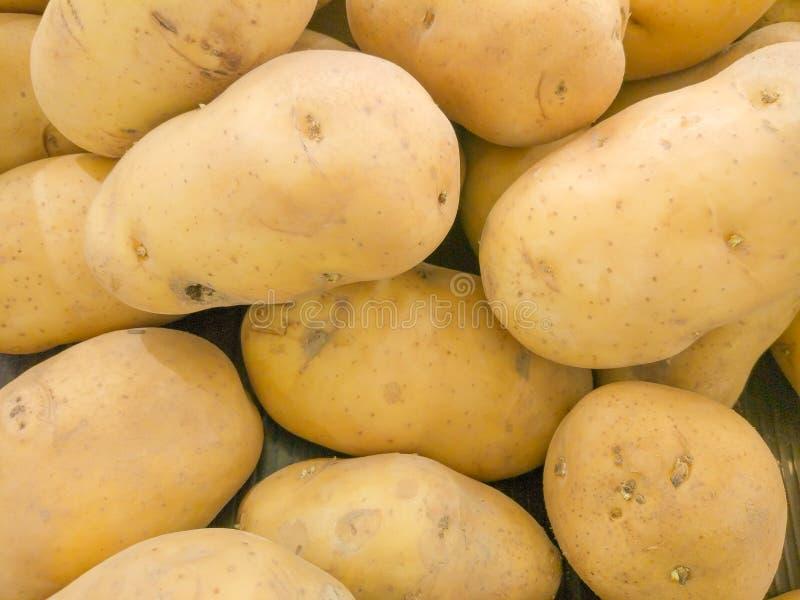 大量棕色土豆在市场上 库存照片