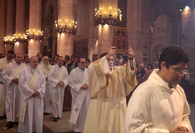 大量的教士在帕尔马大教堂里 免版税库存照片