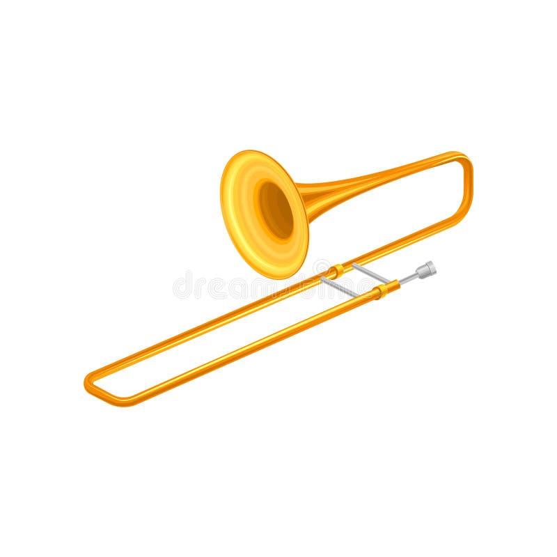 大金喇叭伸缩喇叭 为演奏管弦乐队或古典音乐的黄铜乐器 装饰要素 向量例证