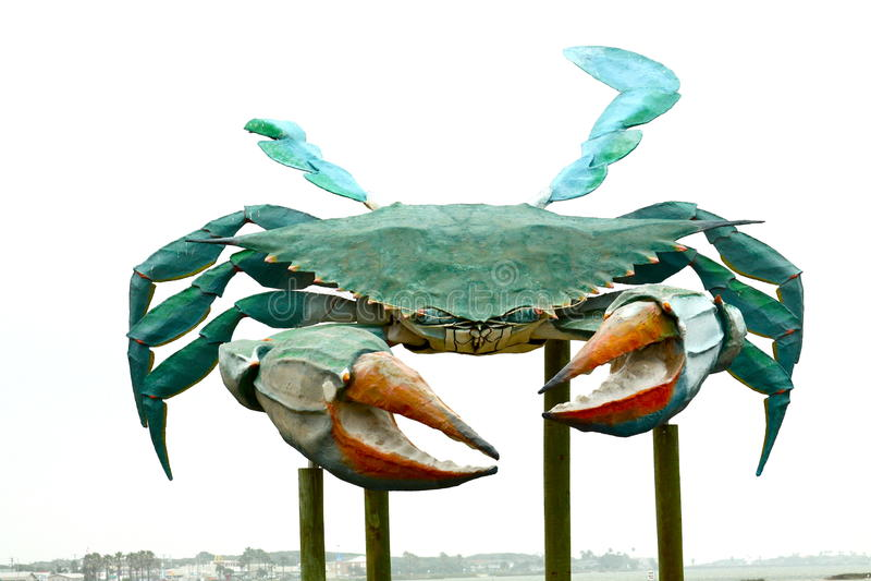 大金属螃蟹雕塑 免版税图库摄影
