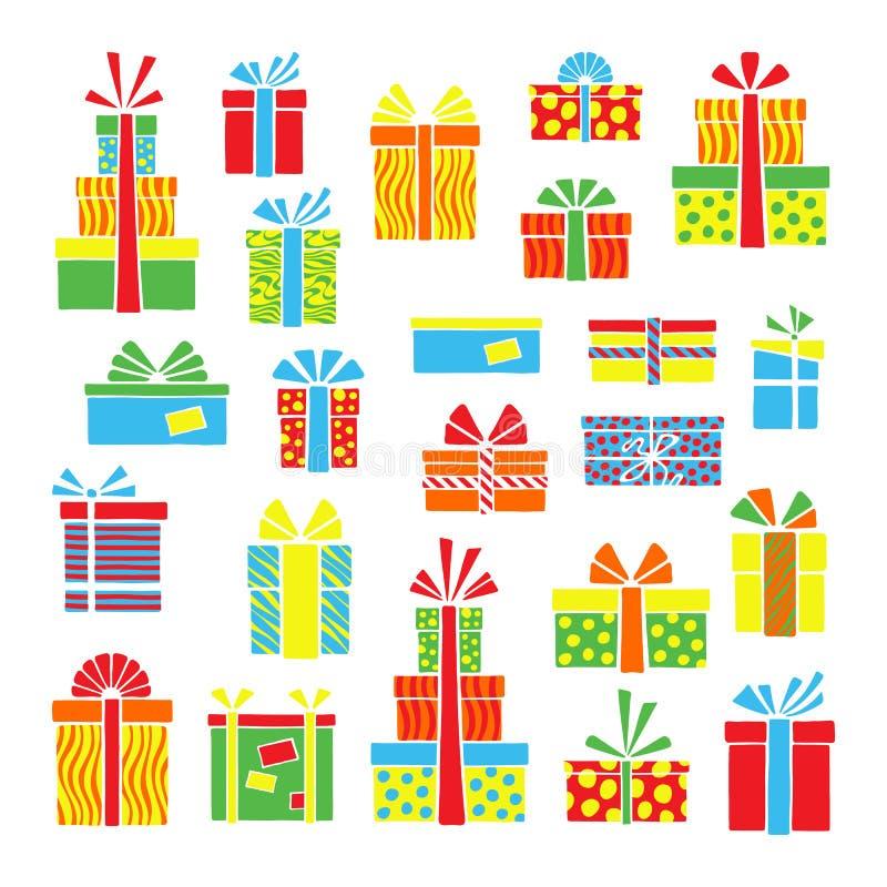 大销售、黑星期五和圣诞节次日被传统化的销售贴纸  流行艺术手拉的集合 向量例证
