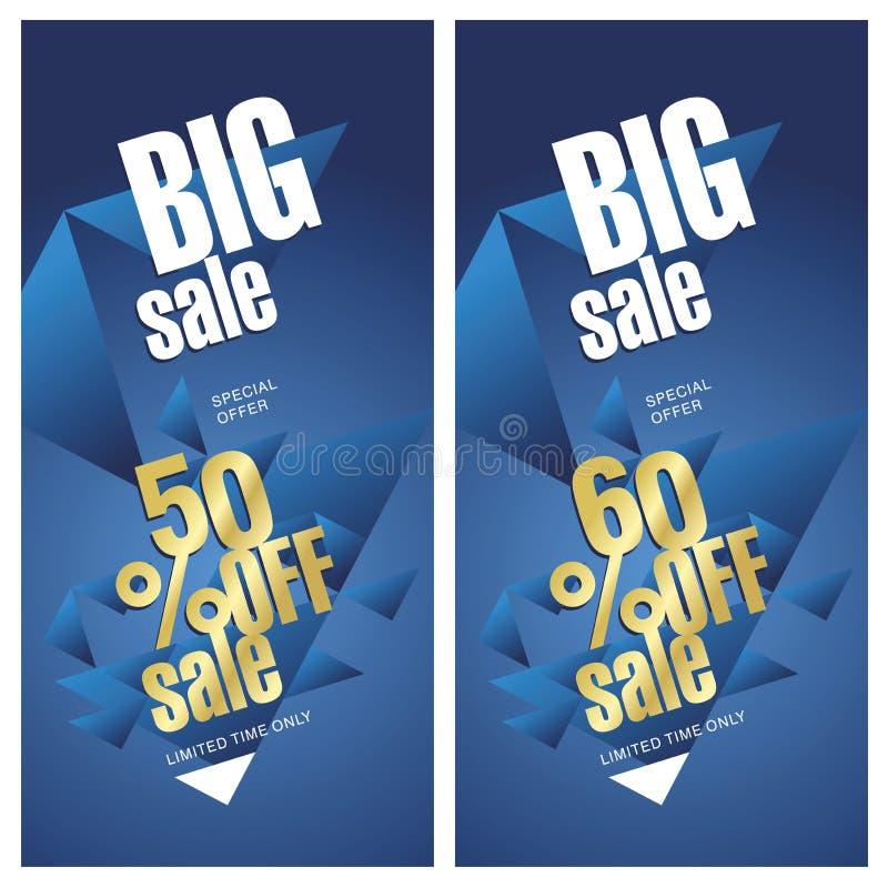 大销售横幅金蓝色背景的50和60% 向量例证