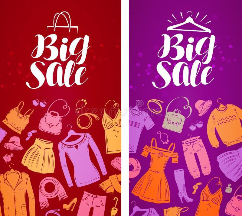 大销售,标签 购物,精品店,服装店,时尚概念 也corel凹道例证向量 库存例证
