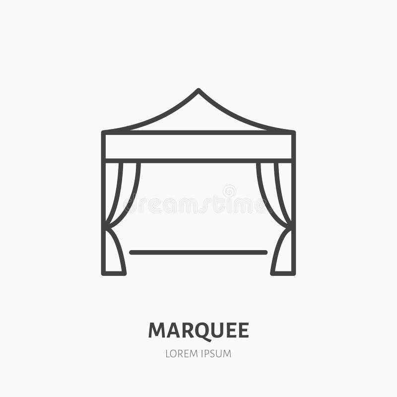 大门罩平的线象 折叠的帐篷,党设备标志 商业展览的,事件供应稀薄的线性商标 向量例证