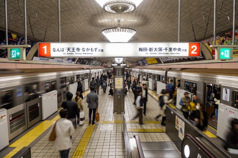 大阪地铁在高峰时间 免版税图库摄影