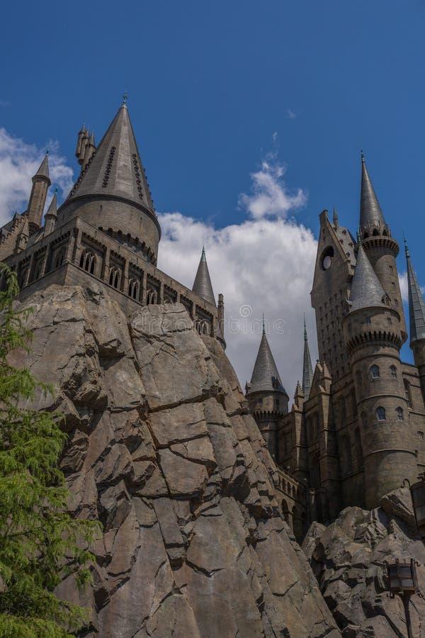 大阪,日本- 2016年6月2日 Hogwarts城堡照片在USJ的 图库摄影