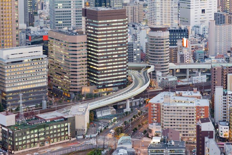 大阪建立街市鸟瞰图的市政厅 库存照片