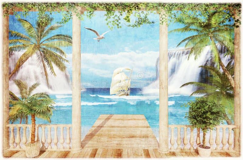 大阳台有海运视图 皇族释放例证