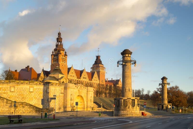 大阳台Haken (WaÅ 'y Hrobrego)什切青,波兰 免版税库存照片