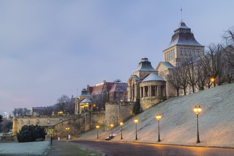 大阳台Haken (WaÅ 'y Hrobrego)什切青,波兰 免版税库存图片