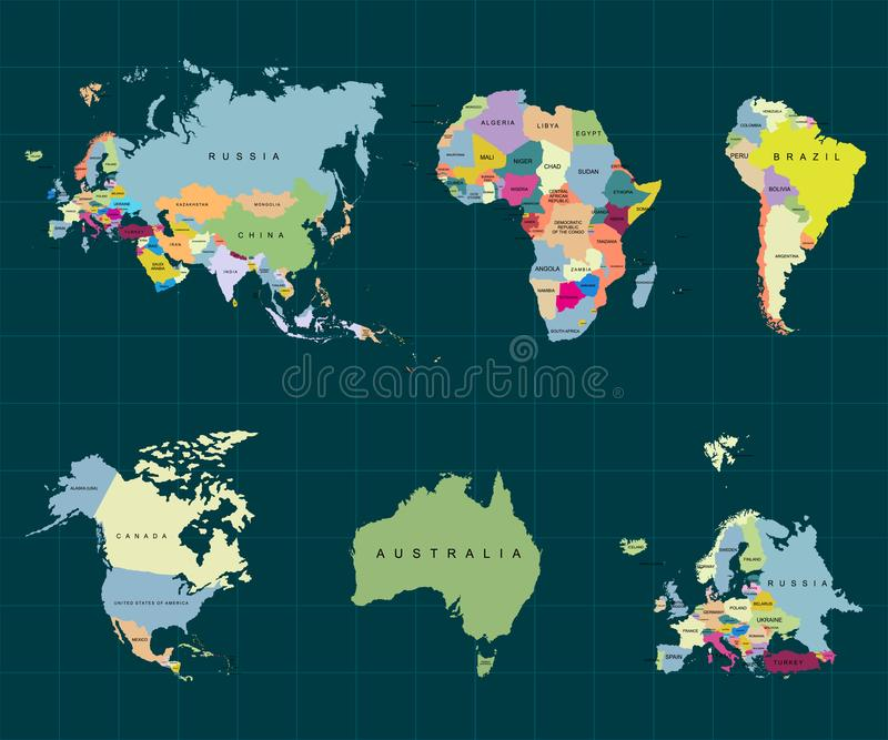 大陆疆土-非洲欧洲亚洲欧亚大陆,南美洲,北美洲,澳大利亚 可能 向量 向量例证