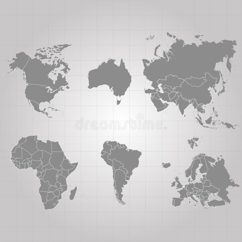 大陆-美国北美洲南美洲,非洲,欧洲,亚洲,欧亚大陆,澳大利亚疆土  灰色背景 向量 库存例证