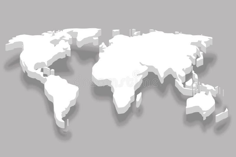 大陆3d白色世界地图企业infographic设计传染媒介例证 向量例证