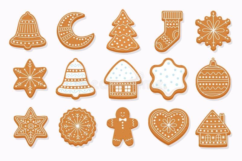 大集合圣诞节姜饼 也corel凹道例证向量 向量例证
