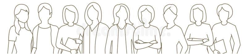 大集合女商人的小组 夫人管理组 Businesswomens身分 女性工作合作 r ?? 库存例证