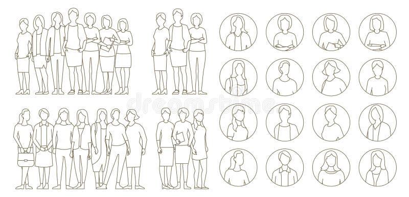 大集合女商人的小组 夫人管理组 Businesswomens身分 工作合作领导 女性着装条例 向量例证